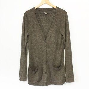 BDG charcoal grey long button down cardigan L